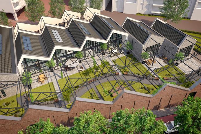 Impressie van de zes woningen die in Het Patroon van de zaagtandwanden op het Bergossterrein gerealiseerd worden.