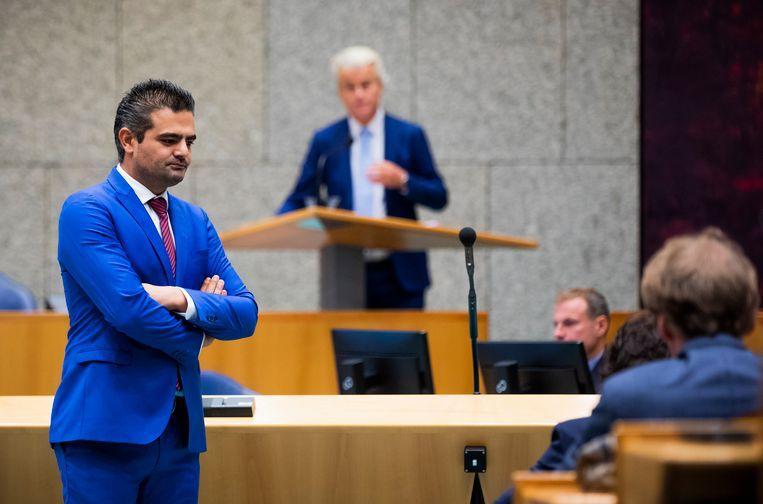 Tunahan Kuzu (Denk) en Geert Wilders (PVV) tijdens de Algemene Politieke Beschouwingen.  Beeld Freek van den Bergh / de Volkskrant