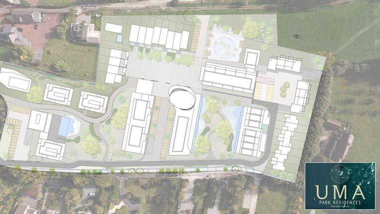 Het terrein dat ontwikkeld zal worden tot UMA Park is nu een uitgestrekt, ontoegankelijk groen gebied tussen Gentsesteenweg en Krijgem.