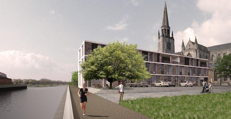 Deze simulatie is nog geen definitief ontwerp, maar alvast een idee hoe de ruimte zou kunnen ingevuld worden met een flatgebouw naast de kerk.
