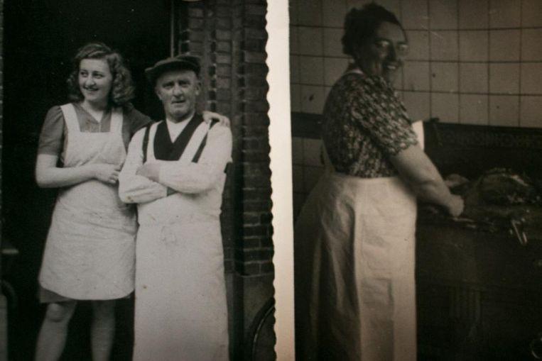 'Pietje den Beenhouwer', die de beenhouwerij in 1923 opstartte, met zijn dochter Godelieve (links) en zijn vrouw Martha (rechts).