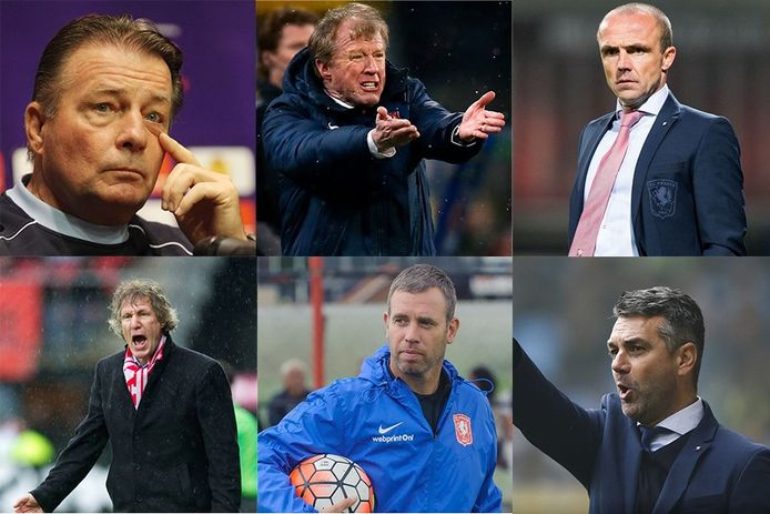 Voormalig trainers van FC Twente: Co Adriaanse, Steve McClaren, Alfred Schreuder, Gertjan Verbeek, René Hake en Marino Pusic.