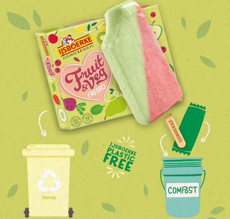 De buitenste verpakking moet bij 'Papier en Karton', de individuele verpakking mag bij het compost.