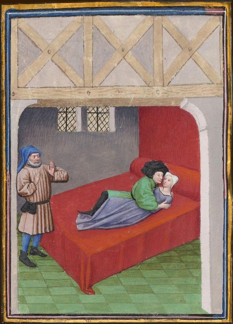 Vlaamse miniatuur naar Boccaccio's Decamerone, ca. 1430 Beeld