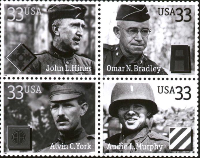 Audie Murphy (rechtsonder) was de inspiratie voor het personage Rambo.