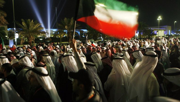 Beeld van de protesten in Koeweit. Beeld afp