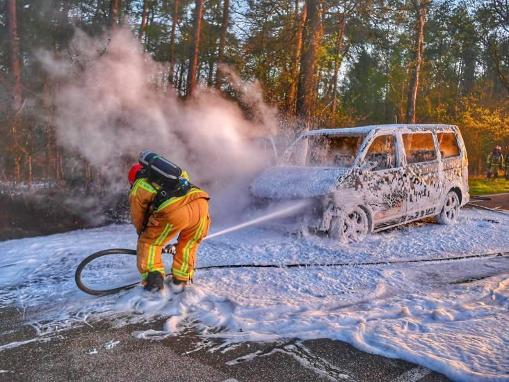 Busje brandt volledig uit in buitengebied Bergeijk