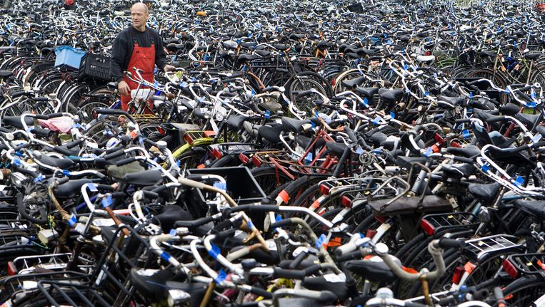 In het fietsdepot worden alle in beslag genomen en gevonden fietsen opgeslagen Beeld anp