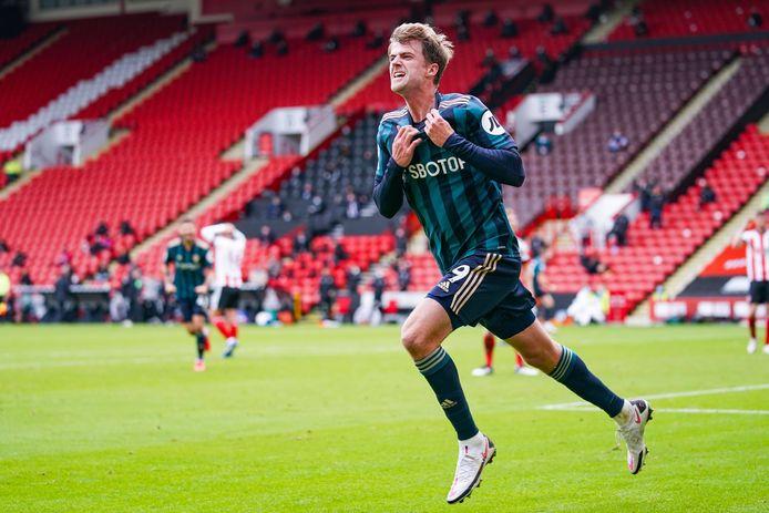 Patrick Bamford juicht na zijn winnende goal tegen Sheffield United. Hij is het seizoen begonnen met drie goals in drie duels.