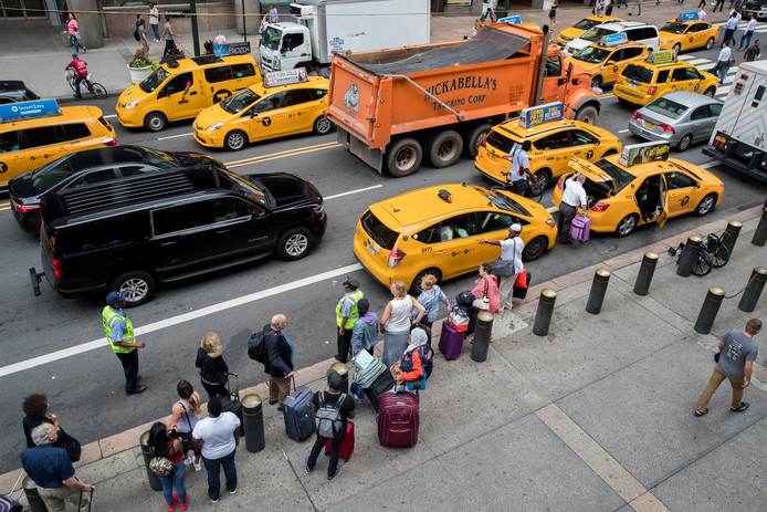 De gele taxi's in New York.