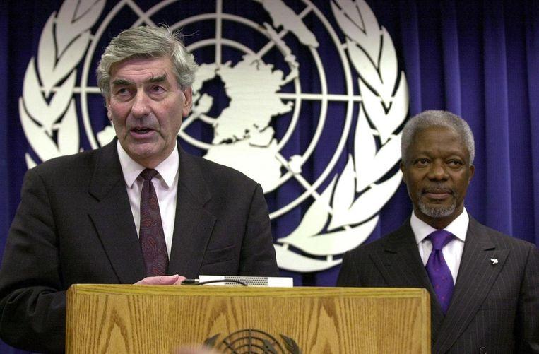 Lubbers geeft een persconferentie na zijn benoeming tot Hoge Commissaris voor de Vluchtelingen van de Verenigde Naties. Beeld afp