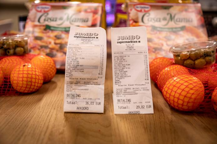 Boodschappen gekocht bij Jumbo Overpelt en de Jumbo in Reusel. De boodschappen zijn exact hetzelfde maar de bedragen verschillen aanzienlijk.