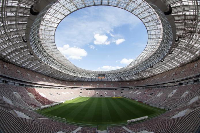 Luzhniki-stadion in Moskou, waar donderdag het openingsduel wordt gespeeld.