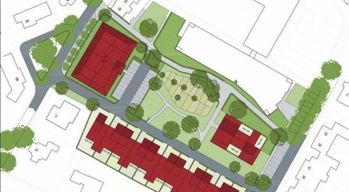 Links aan de Koestraat het appartementencomplex van Leystromen. In het midden de rij patiowoningen van Hof Zuiderbeek en rechts de overige drie patiowoningen van de CPO aan de Papenstraat.