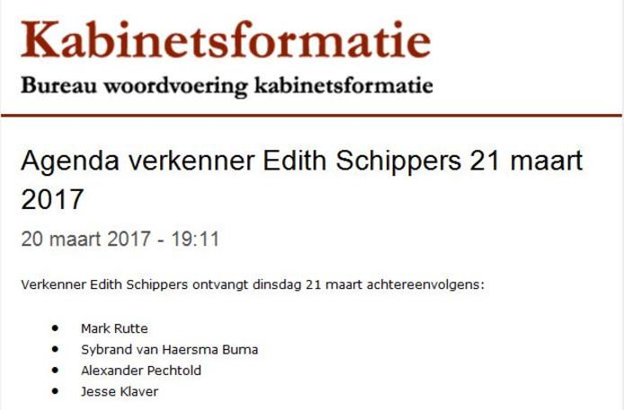 Verkenner Edith Schippers praat morgen met enkele partijen door.