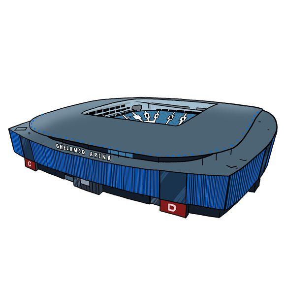 De Ghelamco Arena zoals Lectrr die tekende voor Monopoly Gent
