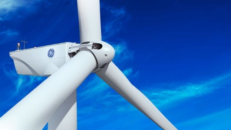 De 'Brilliant' gedoopte windturbine van GE met ingebouwde batterijen en aangesloten op een soort industrieel internet. Beeld General Electric