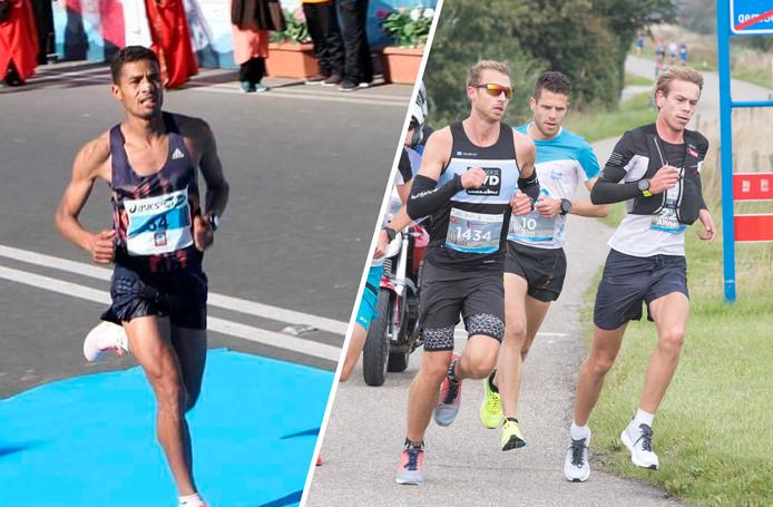 Links: Redouan Nouini. Rechts: de kopgroep in de Kustmarathon. Met in het midden de latere winnaar Tim Pleijte.