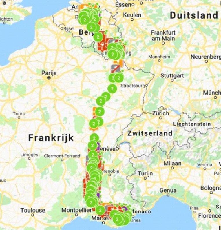 Voorbeeld: overzicht laadpunten van Wijgmaal naar Côte d'Azur via Charemapp Pass.