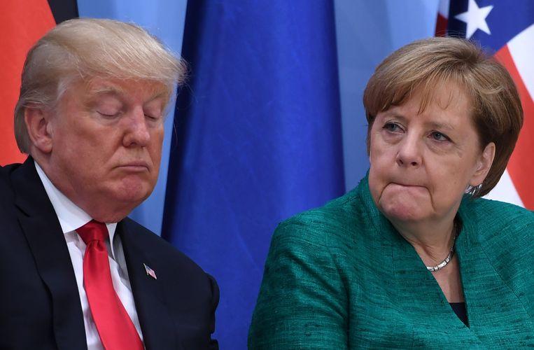 Donald Trump en Angela Merkel tijdens de G20 in Hamburg, in juli van dit jaar.