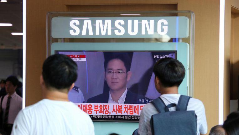 Zuid-Koreanen kijken live naar de veroordeling van Lee Jae-yong Beeld ap