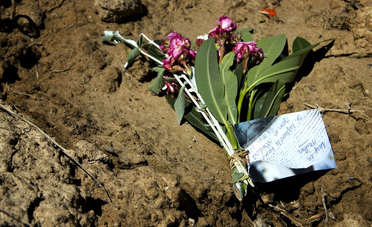 Bloemen op de plek waar de lichamen van Visser en Severein zijn aangetroffen. Beeld ANP