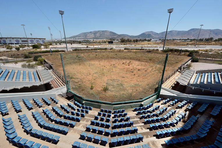 Het olympisch honkbalstadion in Athene. Beeld Getty Images