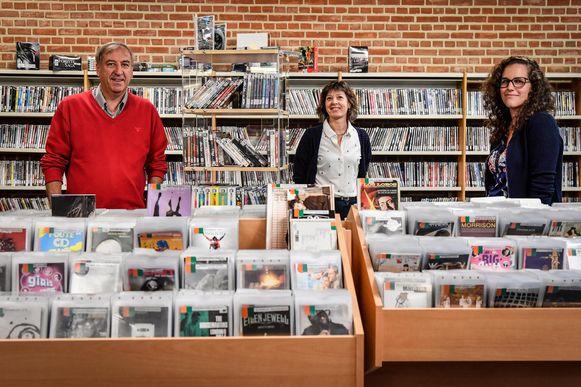 Guy De Roover, Hilde Van Kerckhove en Joke Mannaerts voor de films die je voortaan gratis kan ontlenen.