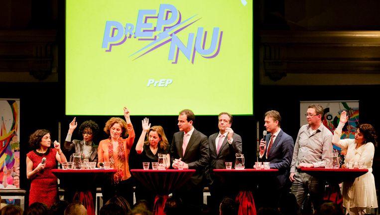 De aanwezige partijen -D66, GroenLinks, SP, 50 Plus, PvdD, PvdA, VVD, CDA en Artikel 1 - werden het over zeven punten eens. Beeld anp