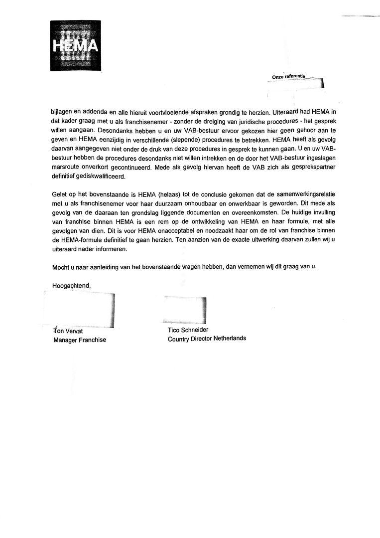 Brief Hema, pagina 2 Beeld Hema