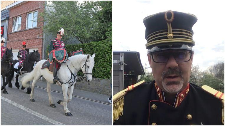 Geen paarden en soldaten dit jaar in de Lembeekse straten (links). Commandant Johan Devogeleer sprak zijn soldatengroep wel toe in een videoboodschap (rechts)/