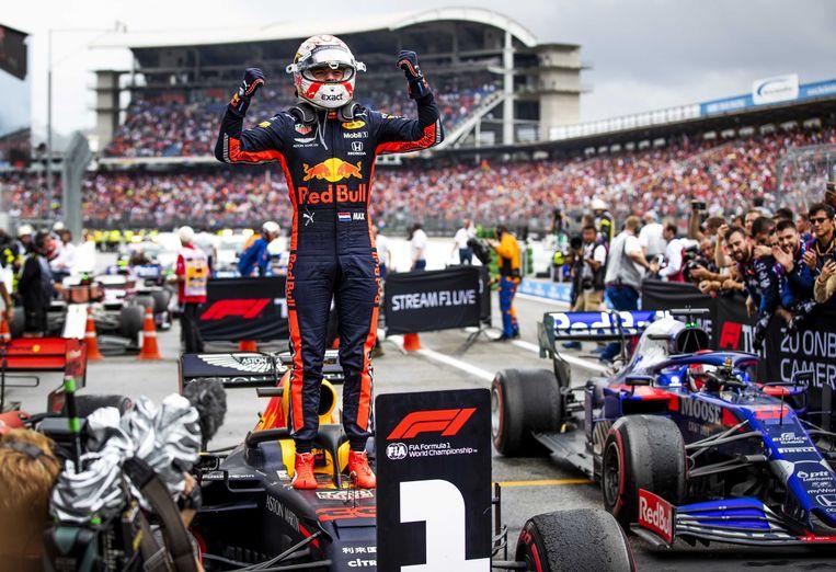 Max Verstappen na zijn overwinning in de Duitse F1 Grand Prix in Hockenheim.  Beeld ANP