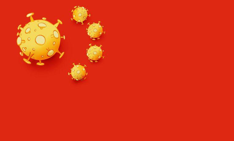Spotprent in de Deense krant Jyllands-Posten. De gele sterren op de Chinese vlag zijn vervangen door virusdeeltjes. Beeld Niels Bo Bojesen / Jyllands-Posten