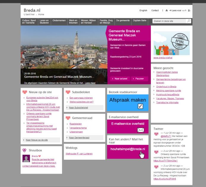 De huidige website van de gemeente Breda.