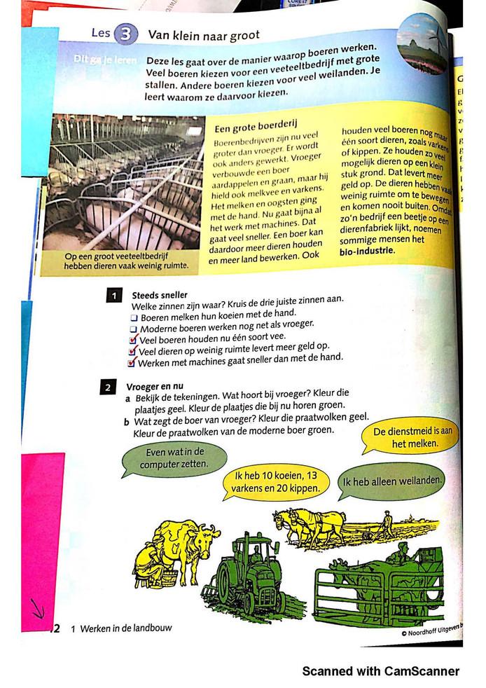 Boeren houden zoveel mogelijk dieren op een klein stuk grond, zo leert dit schoolboek. De Stichting Agri Facts komt in opstand tegen die negatieve beeldvorming.