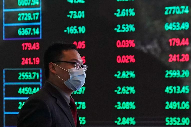 De beurs van Shanghai, vandaag. Beeld null