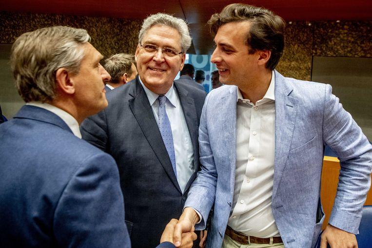 Het CDA van oud-partijleider Sybrand Buma (links) gaat definitief in zee met Baudets Forum voor Democratie. Over de toekomst van Henk Krol (midden) bestaat juist grote onzekerheid: blijft hij wel of niet bij 50Plus? Beeld ANP