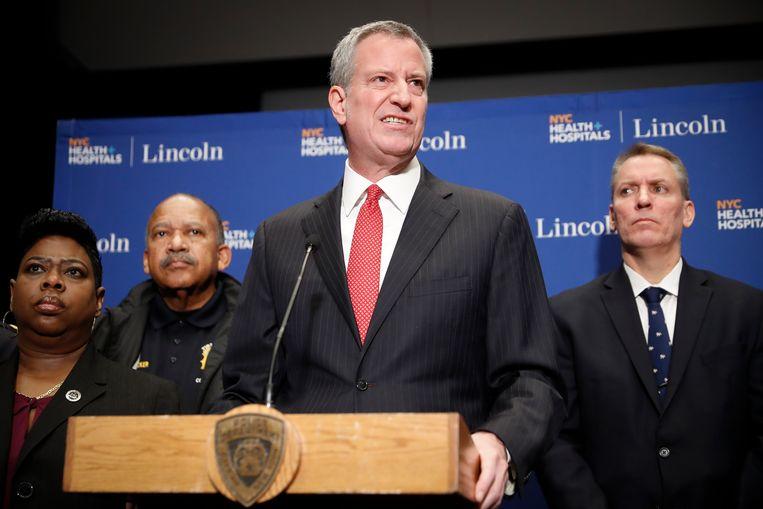 De burgemeester van New York, Bill de Blasio, tijdens een persconferentie in zijn stad. (09/02/2020)