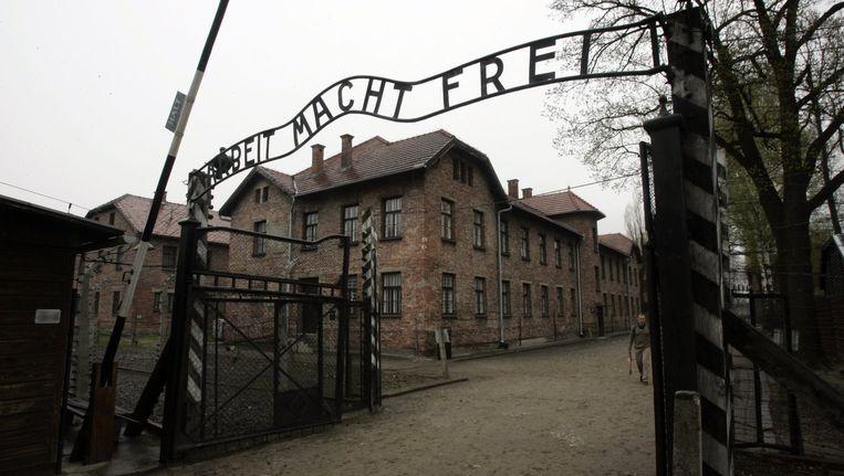 De toegangspoort van Auschwitz. Beeld anp