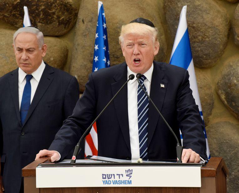 President Trump hield tijdens zijn bezoek aan Jeruzalem in mei een toespraak in het Holocaust-herinneringscentrum Yad Vashem. Beeld EPA
