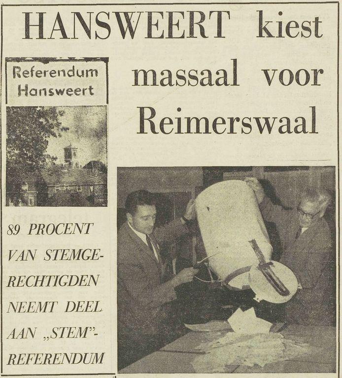 Dagblad De Stem hield in 1967 een referendum onder de inwoners van Hansweert