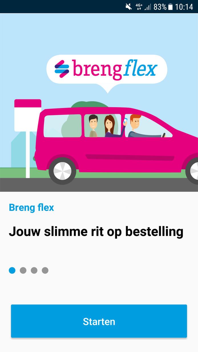 Het beginscherm van de app om een rit te bestellen.