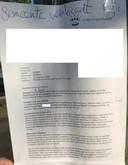 De brief van de gemeente, gericht aan het bloemenvrouwtje, zoals deze rond gaat op internet
