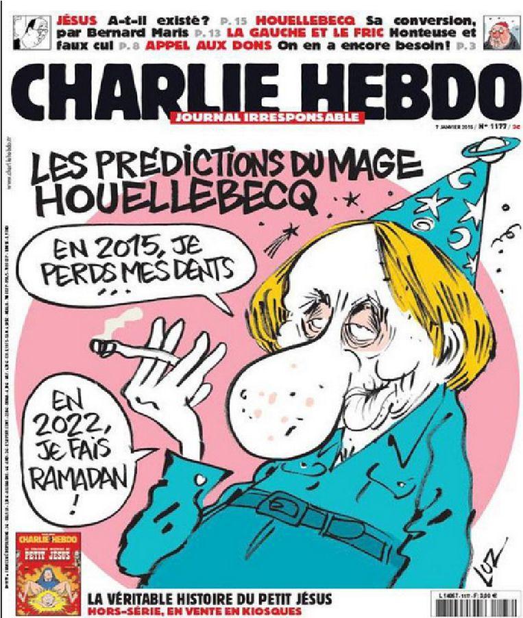De Charlie Hebdo-editie van zeven januari, voor duizenden euro's te koop aangeboden op eBay. Beeld @Twitter