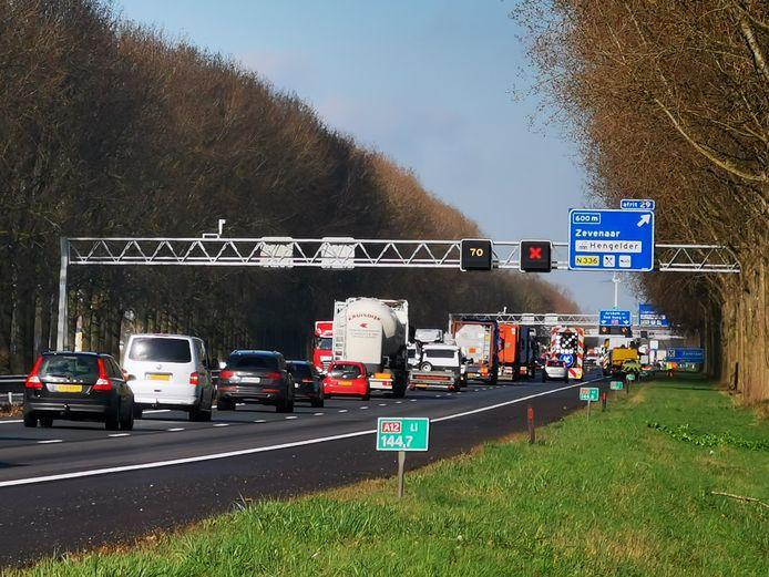 File op de A12 in de richting van Arnhem.