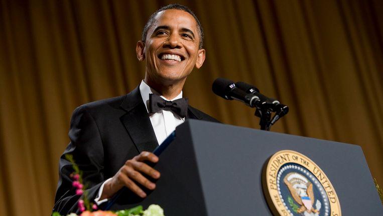 De Amerikaanse president Barack Obama tijdens het correspondentendiner van 2012.