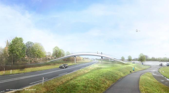Een schets van de loopbrug in Brummen.