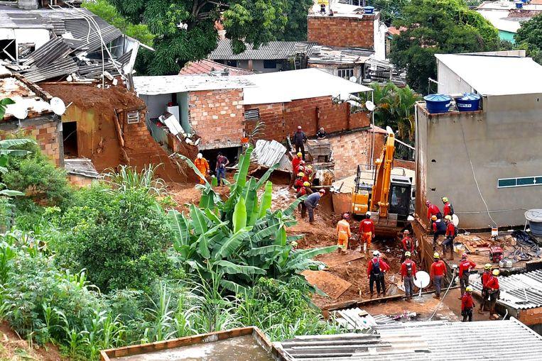 Ingestorte huizen in Belo Horizonte. Beeld EPA