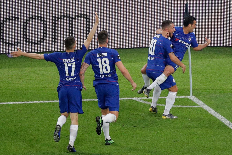 Hazard, Giroud, Pedro: le trio décisif des Blues contre Arsenal.