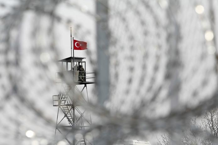 Een wachttoren aan de Turks-Griekse grens bij Evros.